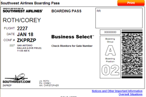 Example of a boarding pass on Southwest Airlines.  Boarding Group and Position are indicated on the right.