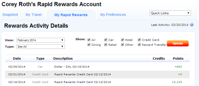 View your rapid rewards activity with a variety of filters.