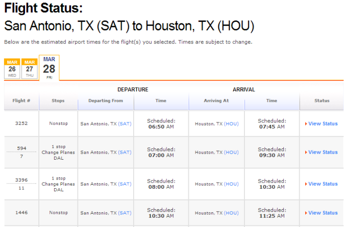 The Southwest.com flight status page doesn't show status unless you click on the details link.