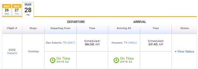 Clicking view status shows you the gate number and flight status.