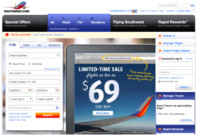 Southwest.com Home Page