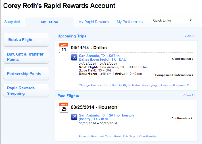 My Travel page inside Rapid Rewards section.