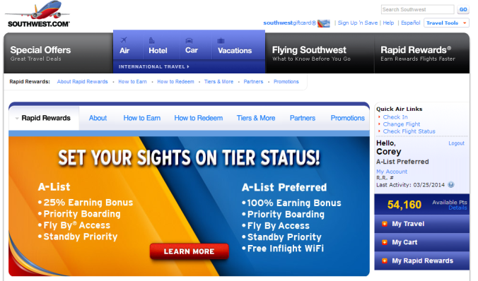 Southwest.com Rapid Rewards Landing Page