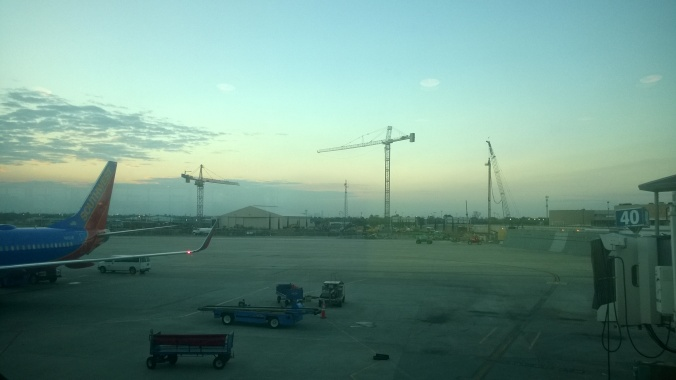 Construction progress of the new Hobby International Terminal viewed from Gate 40.