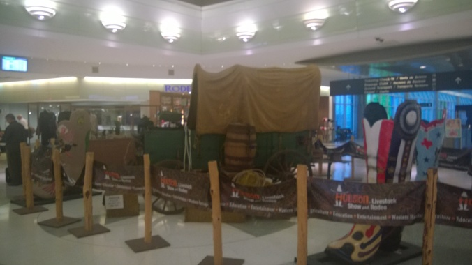 Houston Rodeo display in the center of Hobby Airport