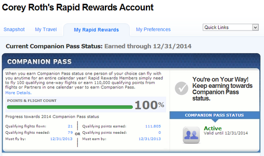 Rapid Rewards screen showing Companion Pass at 100%.
