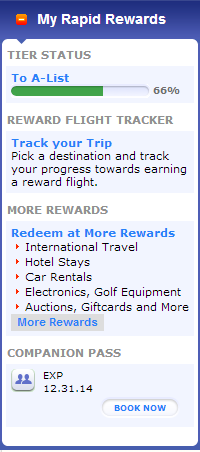 Rapid Rewards widget on Southwest.com with Companion Pass enabled.