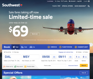 Southwest.com launches a new home page.