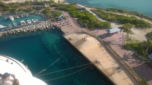 Looking down at Castaway Cay port side from Deck 11 Aft