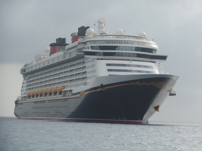 The Disney Fantasy achored outside of Grand Cayman, Cayman Islands