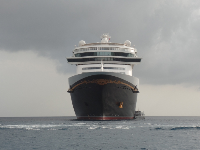 The front of the Disney Fantasy outside of Grand Cayman taken while aboard a tender.