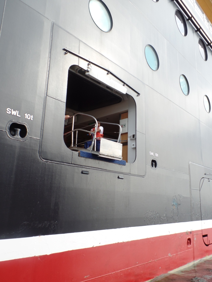 The gangway that the tender boats will use to allow passengers back on board.
