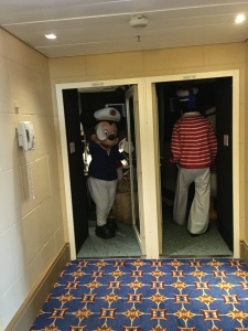 Disney characters entering the green room on Deck 10 before the Sail Away party